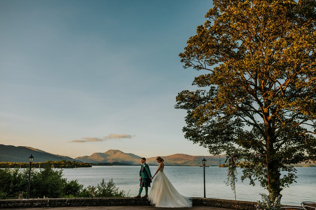 Wedding day photo on loch lomond